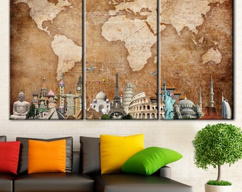 Triptych, World Map, Wonders world map, Canvas Print, World map canvas, Vintage world map, Old world map, Map of the World, Brown World Map