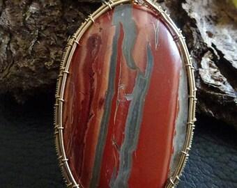 Huge womens pendant,Handmade wired pendant,Red River Jasper Pendant,Red Jasper,Bronze Pendant,Huge Red Jasper pendant Wired in bronze