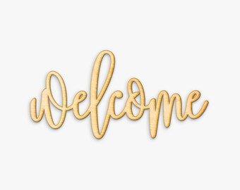 Hand Drawn Welcome Wood Sign - Welcome Wood Sign, Wood Gift, Wood Script, Home Sign, Housewarming Gift, Entryway Sign, Welcome Door Sign