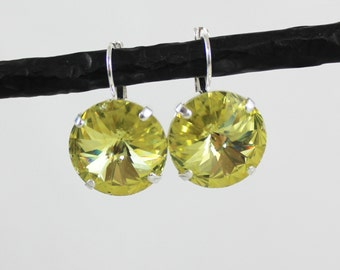 Jonquil Yellow 18mm Rivoli Swarovski Crystal Drop Earrings - Shiny Silver and Black Metal Finishes Available