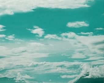 Blauer Himmel über dem blauen Meer, verträumte Seelandschaft Photogrpahy Reisen druckt, Aussicht auf die skandinavische Natur, Molde, Norwegen