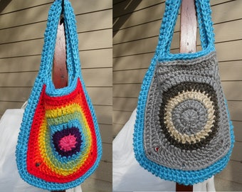 Shoulder Bag Rainy Day Bright Rainbow, Crochet  Granny Bag, Case, Carrier, Sack, Tote, Ready to Ship