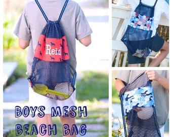 Personalized Boys Mesh tote bag , kids beach bag, beach tote, Shell bag, monogrammed beach bag, shell tote beach bag, kids personalized tote