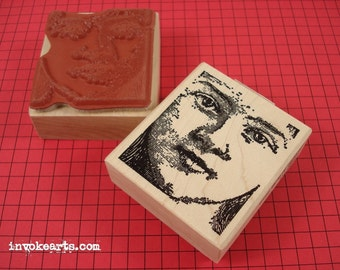Emily Face Stamp / Invoke Arts Collage Rubber Stamps