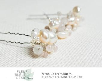 Vintage wedding hair pins silver   freshwater pearls hair pins   rose quartz   vintage hair accessories    bridal hair pin   pink