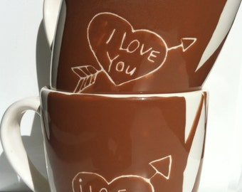 """Valentine Love mugs! """"Love carved"""" Brown tree ceramic coffee cups, His and Her personalized message mugs!"""