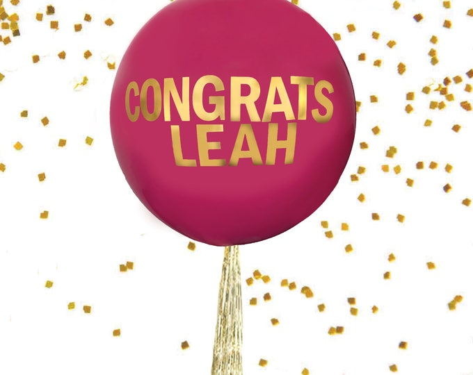 """Personalized Balloon, Custom Balloon, 36"""" Round Latex Balloon, Custom Balloons with Name, Personalized Letters, A Rainbow of Colors"""