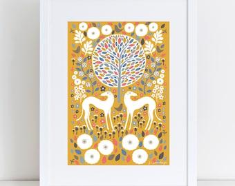 Scandi Mustard Greyhounds   A4 Giclee Print   Art Print   Scandinavian Style   Dog Lover Gift   Pet Gift   Greyhound Whippet Lurcher Gift
