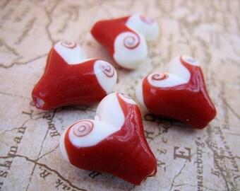 Lampwork Beads - Hearts with Swirls