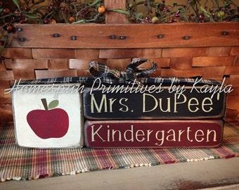 Personalized Teacher Desk Blocks, Teacher Blocks, Teach Desk, Teacher Gift, Teacher Appreciation, Blocks, Gift