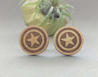 Captain America Shield Cuff Links - Laser Engraved Wood - Cufflink Pair - Marvel Avengers