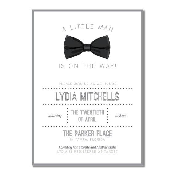 Little man baby shower invitation bow tie black tie baby filmwisefo