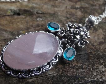 "Sterling Silver Rose Quartz & Apatite Pendant Necklace Sterling Silver 18"" Chain Natural Stone Necklace Pink Quartz Necklace Handmade"