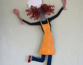 Chef Lady Wall Art For the Kitchen Metal Wall Art Kitchen Culinary Wall Sculpture Dancing Chef Yellow Wall Decor Red Head   15 x 22