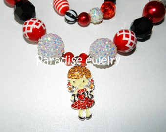 Daddy Daughter Necklace, Bubblegum Bead Chunky Necklace, I Love You Rhinestone Pendant, Red Black White, Girls Bubblegum Chunky Necklace