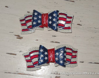 Fourth of July Bow, 4th of July, Patriotic Hair Bow- Flag Hair Bow