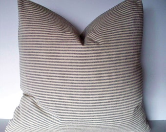 Blue Ticking Pillow Cover Blue Stripe Pillow Cover Blue and White Pillow 0