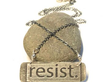 Resistance Jewelry, Feminist Necklace, Gift for Feminist, Gift for Her, Sterling Silver Bar Necklace, Political Jewelry, Woman's March