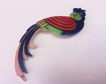 Vintage Mother of Pearl Painted Parrot Design Costume Brooch - MOP