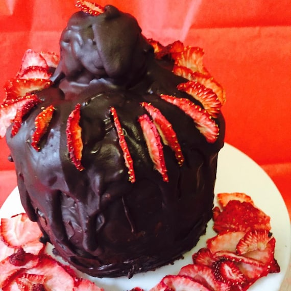 Vegan Mini Double Chocolate Strawberry Cake, Natural,healthy ingredients,Love and Compassion,Birthday,Wedding.