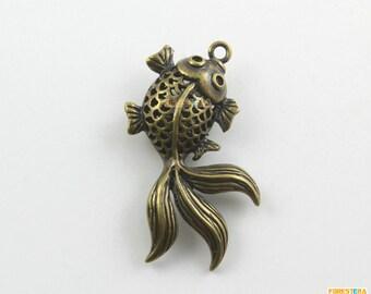 6Pcs Antique Brass Goldfish Charm Goldfish Pendant fish charm fish pendant 33x21mm (PND1276)
