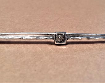 Sterling Silver and Rhinestone Bar Pin