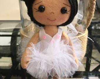 Handmade Gingermelon felt ballerina doll