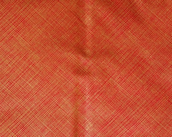 Red Gold Crosshatch Christmas Blender Fabric