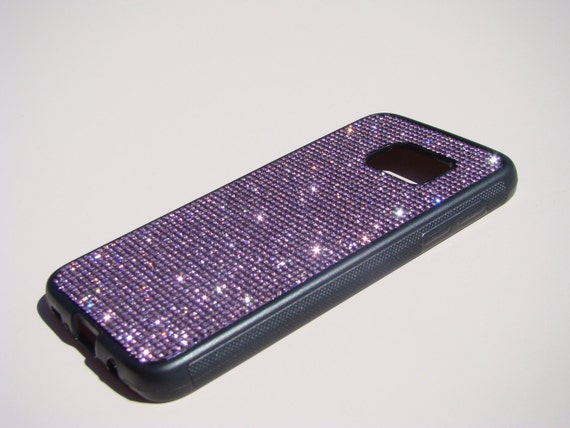 Galaxy S7 Case Purple Amethyst Diamond Rhinestone Crystals Black Rubber Case. Velvet/Silk Pouch Bag Included, Genuine Rangsee Crystal Ca