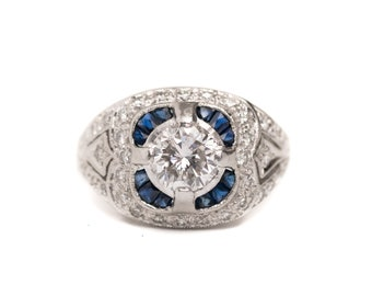 "Vintage Inspired 1.75 CTTW 1 Carat + Center Diamond Platinum ring with French Cut Blue Sapphire Halo ""Hannah"""