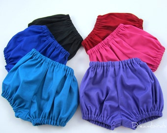 Toddler Diaper Covers - Toddler Size Baby Bloomers - Primary Color Bloomers - Red, Blue, Purple, Pink, Teal, Turquoise - Size 18m, 2T, or 3T