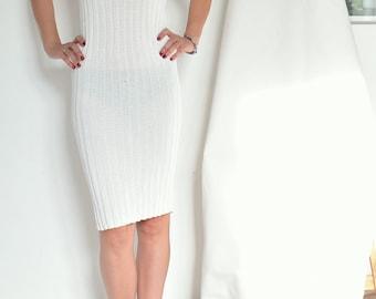 versace knitted white silk dress size XS S