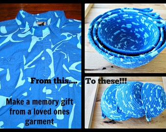 In memory of Sympathy gift. Memory Basket handmade from your clothing, In memory of gift. Condolence gift. sympathy gift coiled clothesline