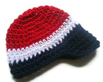 Baby Boy, Baby Boy Crochet Hat, Visor Hat, Toddler Boys Hat,  Red, White, Blue, MADE TO ORDER