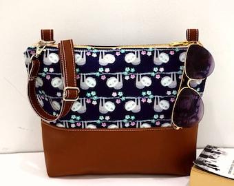 Crossbody Bag, Navy Blue Sloths Crossbody Bag, Crossbody, Crossbody with Vegan Leather Trim, Zipper Shoulder Bag, Gift for Her
