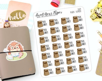 Lunch Planner Stickers - Brown Bag Planner Stickers - Pack Lunch Planner Stickers - Hand Drawn Planner Stickers - 204