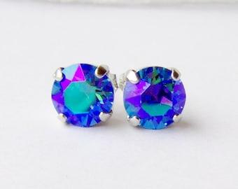 Sapphire glacier blue rhinestone stud earrings / 8mm / Swarovski crystal / gift for her / birthday gift / September birthstone / unique gift