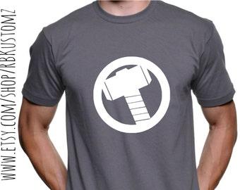 Superhero thor hammer shirt, custom tshirt, heat vinyl transfer