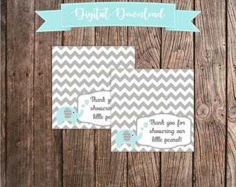 Baby Shower Folding Favor Labels - Thank you for showering our little peanut! - Blue and Gray Elephant Baby Shower Decorations Gray Chevron