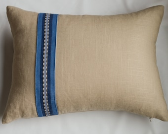 Linen  Rectangular Pillow Cover in Tan with Blue Stripe Banding