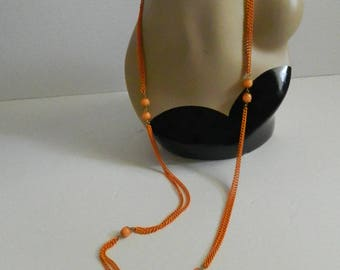 Retro 1970s Extra Long Tangerine Bead & Chain Necklace