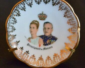 Prince Rainier and Princess Grace Petite Commemorative Limoges Portrait Plate