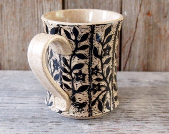 Mug, Handmade Stoneware Carved with Flower Vine Stripes in Black and Beige
