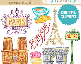 paris clipart etsy rh etsy com French Black and White Clip Art french clip art pictures