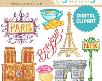 PARIS Digital Clipart Instant Download Illustration France Travel Bonjour Parisian Eiffel Tower French Macaroons Notre Dame Clip Art