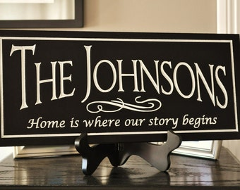 Carved Engraved Personalized Family Name Sign Plaque Custom  8x20