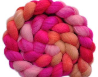 Hand painted combed top roving - Silk / Shetland wool 30/70% spinning fiber - 3.9 ounces - Pata Pata 2