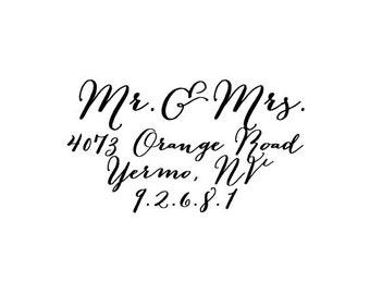 Beautiful Calligraphy Custom Made Return address rubber stamp