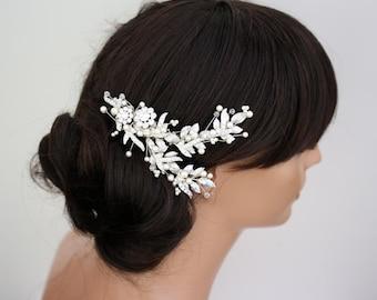 Pearl Wedding Hair Accessories Silver Bridal Headpiece Beaded Leaf Hair Vine For Brides Modern Spring Weddings MIER