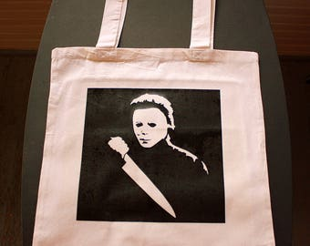 Michael Myers Tote Bag - Small Bag - Black Vinyl Letters - Natural - Halloween